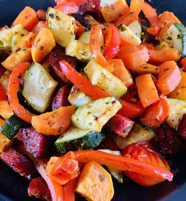 gegrilde groenten met chorizo