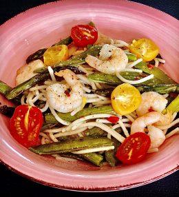 Knoflook Spaghetti met gamba's en gegrilde groenten