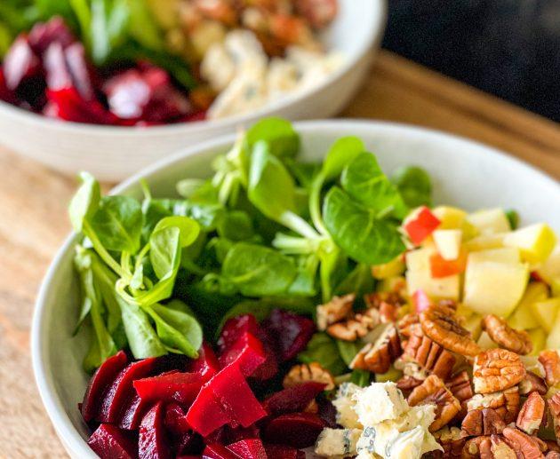 Bietjes salade met blauwe kaas